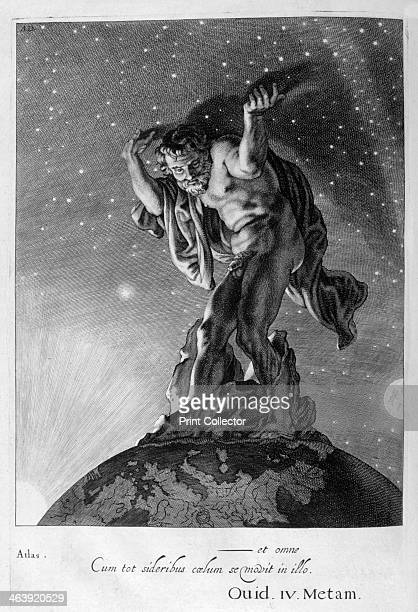 Atlas Supports the Heavens on his Shoulders 1655 A plate from Michel de Marolles's Tableaux du Temple des Muses Paris 1655 Found in the collection of...