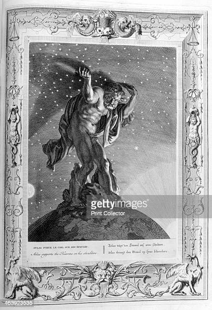 Atlas supports the heavens on his shoulders 1733 A plate from Le Temple des Muses Amsterdam 1733 Found in the collection of Jean Claude Carriere