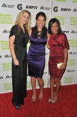Atletes Aimee Mullins Jessica Mendoza and Dominique Dawes attend the 30th Annual Salute To Women In Sports Awards at The Waldorf=Astoria on October...