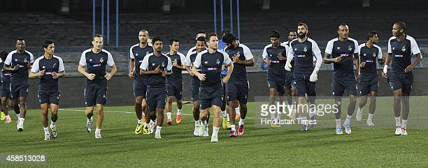 Atletico de Kolkata footballers during their training session on the eve of their ISL Match against FC Pune City on November 6 2014 in Kolkata India