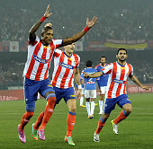 Atletico De Kolkata player Fikru Tefera celebrating his goal against FC Goa during ISL match at YBK Stadium Salt Lake on December 10 2014 in Kolkata...