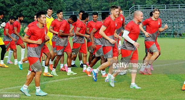 Atletico de Kolkata players during practice ahead of the second edition of Indian Super League at Mohun Bagan Ground on September 29 2015 in Kolkata...