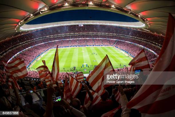 Atletico de Madrid fans flock to the Wanda Metropolitano prior to the La Liga 201718 match between Atletico de Madrid and Malaga CF on 16 September...