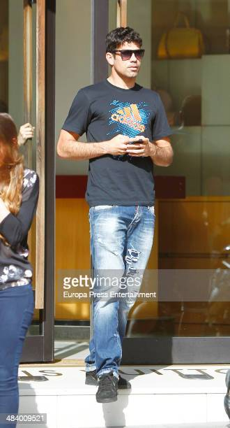 Atletico de Madrid football player Diego Costa is seen on April 10 2014 in Madrid Spain