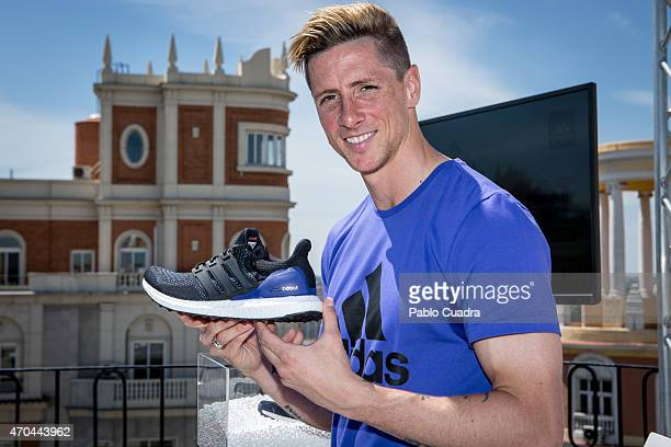 Atletico de Madrid football player Fernando Torres presents the new Ultra Boost Adidas trainers at Vincci Hotel on April 20 2015 in Madrid Spain