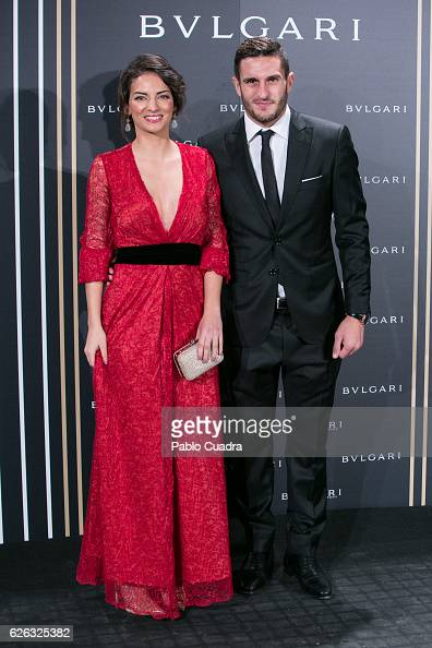 Atletico de Madrid football player Koke Resurreccion and wife Beatriz Espejel attend the opening of the exhibition 'Bulgari and Roma' at Italian...