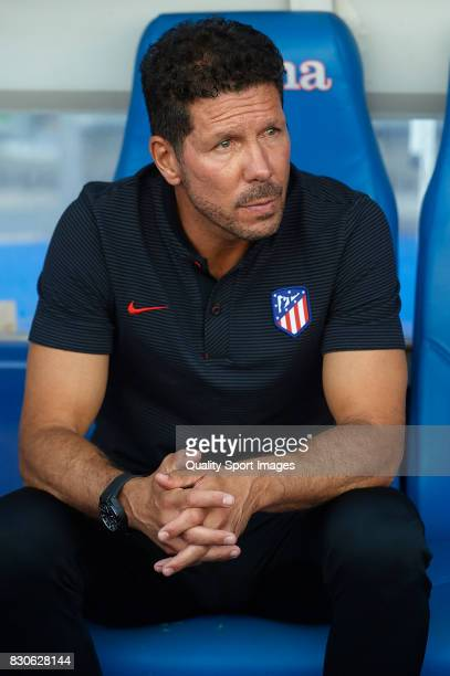 Atletico de Madrid manager Diego Pablo Simeone looks on prior to the Pre Season Friendly match between Getafe CF and Atletico de Madrid at Coliseum...