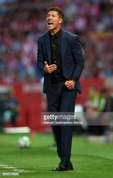 Atletico de Madrid manager Diego Pablo Simeone reacts during the La Liga match between Girona and Atletico Madrid at Municipal de Montilivi Stadium...