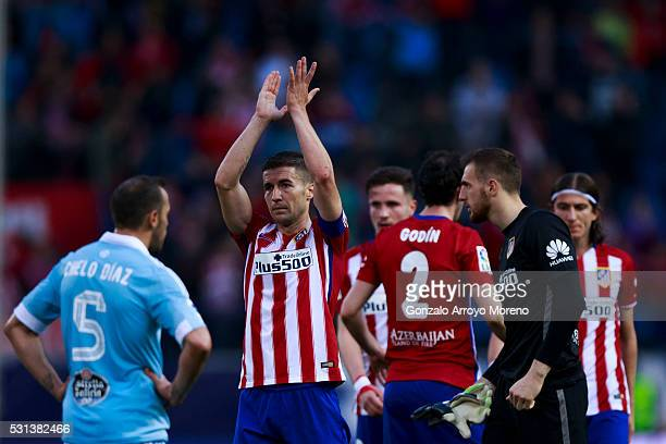 Atletico de Madrid players Gabi Fernandez Saul Niguez Juan Francisco Torres alias Juanfran goalkeeper Jan Oblak and Filipe Luis waves the audience...