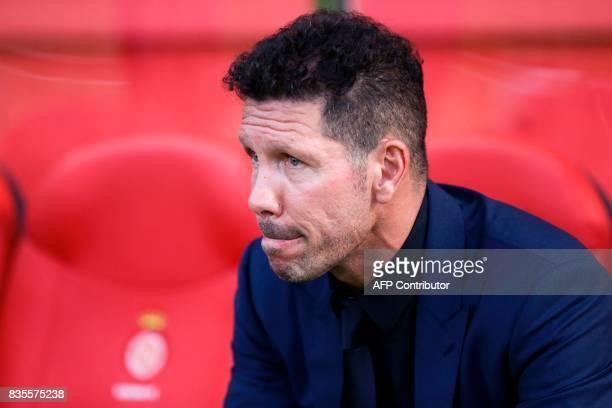 Atletico de Madrid's Argentinian coach Diego Simeone looks on before the Spanish league football match Girona FC vs Club Atletico de Madrid at the...