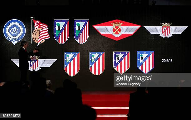 Atletico de Madrid's emblems are displayed during the presentation of their new stadium name Wanda Metropolitano during a press conference at the...