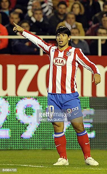 Atletico de Madrid's Kun Aguero gestures during their Spanish league football match against Sevilla at Sanchez Pizjuan stadium in Seville on February...