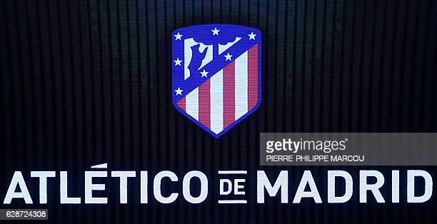 Atletico de Madrid's new emblem is projected during the presentation of their new stadium name Wanda Metropolitano during a presentation at the...