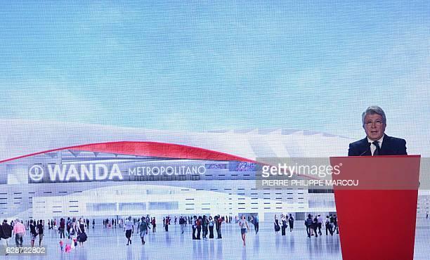 Atletico de Madrid's President Enrique Cerezo announces the name of their new stadium Wanda Metropolitano during a presentation at the Vicente...