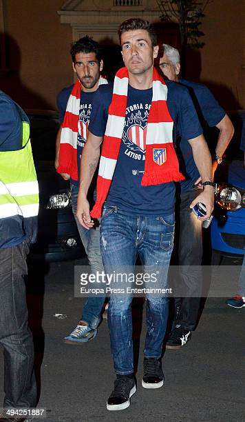 Atletico Madrid football player Gabi Fernandez attends the dinner to celebrate the Spanish league title on May 17 2014 in Madrid Spain