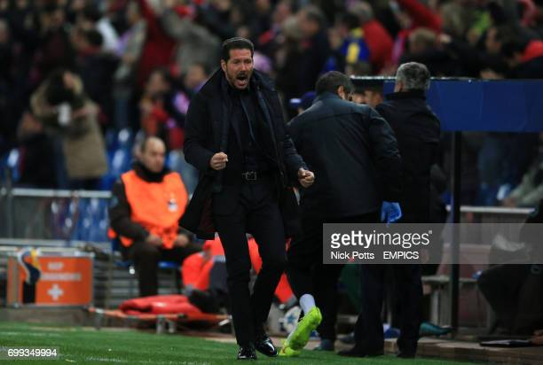 Atletico Madrid Head Coach Diego Simeone celebrates the 1st goal during 20 win over Galatasaray
