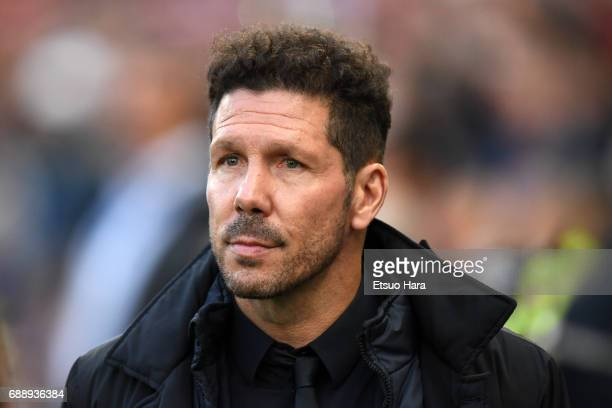 Atletico Madrid head coach Diego Simeone looks on prior to the UEFA Champions League Semi Final second leg match between Club Atletico de Madrid and...