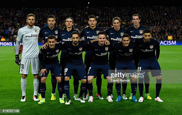 Atletico Madrid line up prior to the UEFA Champions League quarter final first leg match between FC Barcelona and Club Atletico de Madrid at Camp Nou...