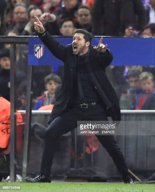 Atletico Madrid manager Diego Simeone looks animated on the touchline