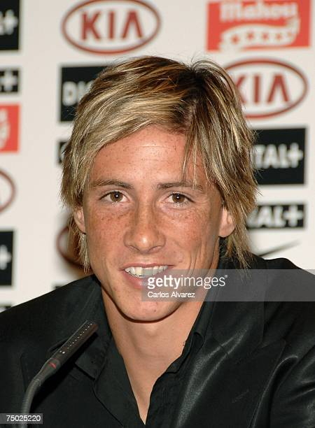 Atletico Madrid player Fernando Torres attends press conference at Vicente Calderon Stadium to announce he is going to play for Liverpool FC on July...