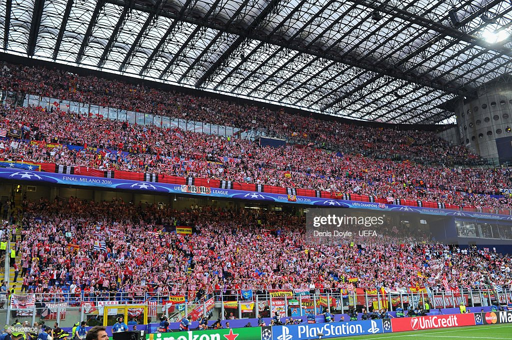 Atletico Madrid supporters enjoy the atmosphere at the stadium prior to the UEFA Champions League Final between Real Madrid and Club Atletico de Madrid at Stadio Giuseppe Meazza on May 28, 2016 in Milan, Italy.