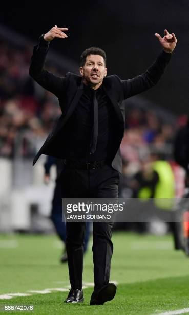 Atletico Madrid's Argentinian coach Diego Simeone gestures during the UEFA Champions League football match Club Atletico de Madrid vs Qarabag FK at...
