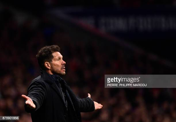 Atletico Madrid's Argentinian coach Diego Simeone gestures during the Spanish league football match Atletico Madrid vs Real Madrid at the Wanda...