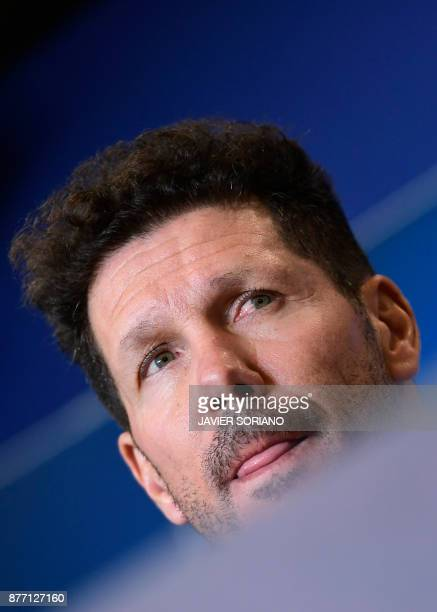 Atletico Madrid's Argentinian coach Diego Simeone gives a press conference at the Wanda Metropolitan stadium in Madrid on November 21 2017 on the eve...