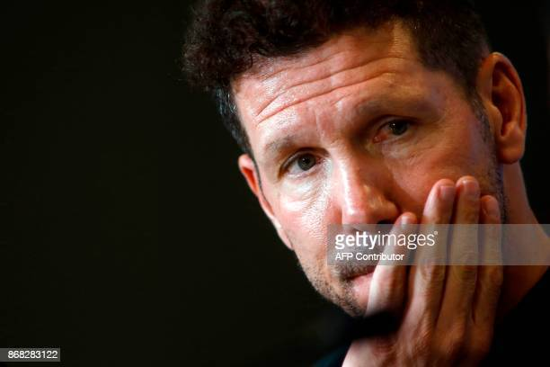 Atletico Madrid's Argentinian coach Diego Simeone holds a press conference at the Wanda Metropolitano stadium in Madrid on October 30 2017 on the eve...