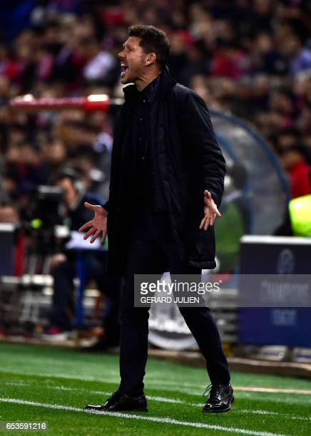 Atletico Madrid's Argentinian coach Diego Simeone shouts during the UEFA Champions League round of 16 second leg football match Club Atletico de...