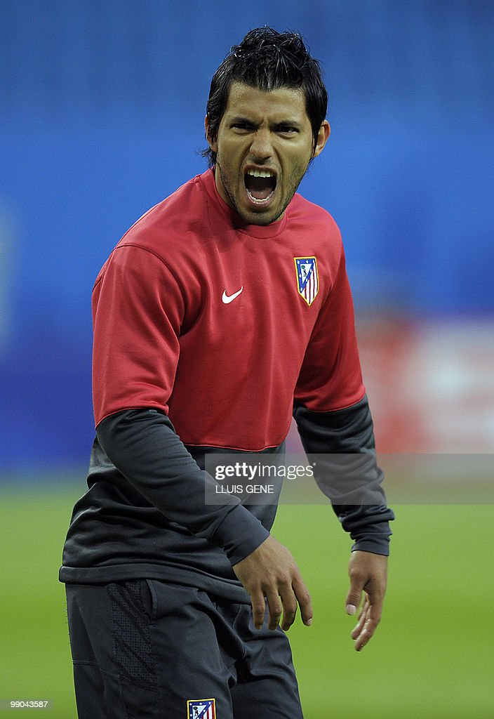 Atletico Madrid's Argentinian forward Sergio Aguero shouts during a training session at the Nordbank-Arena stadium on May 11, 2010 in Hamburg, northern Germany, one day ahead of the Europa League final Atletico Madrid vs Fulham.