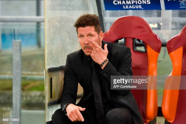 Atletico Madrid's Argentinian head coach Diego Simeone looks on prior to the UEFA Champions League Group C football match between AS Roma and...