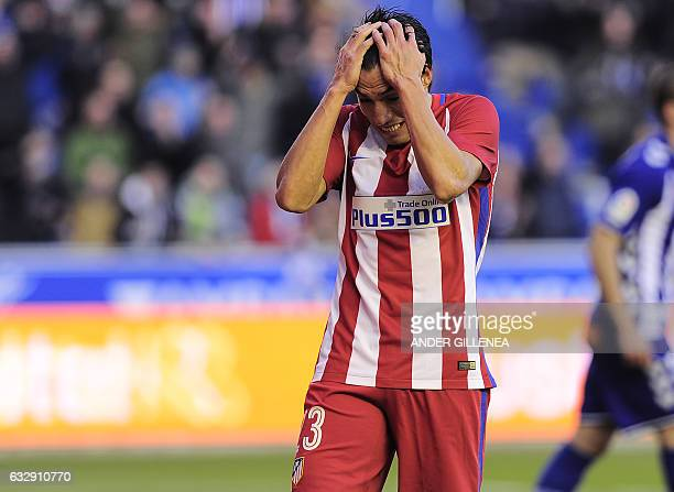 Atletico Madrid's Argentinian midfielder Nicolas Gaitan gestures during the Spanish league football match Club Atletico de Madrid vs Deportivo Alaves...