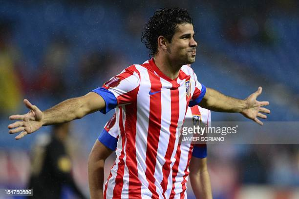 Atletico Madrid's Brazilian forward Diego da Silva Costa celebrates after scoring during the UEFA Europa league football match Club Atletico de...