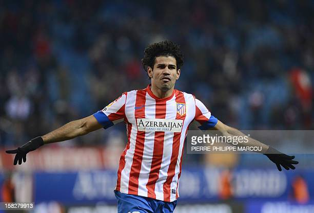 Atletico Madrid's Brazilian forward Diego da Silva Costa celebrates after scoring his second goal during the Spanish Cup football match Atletico de...