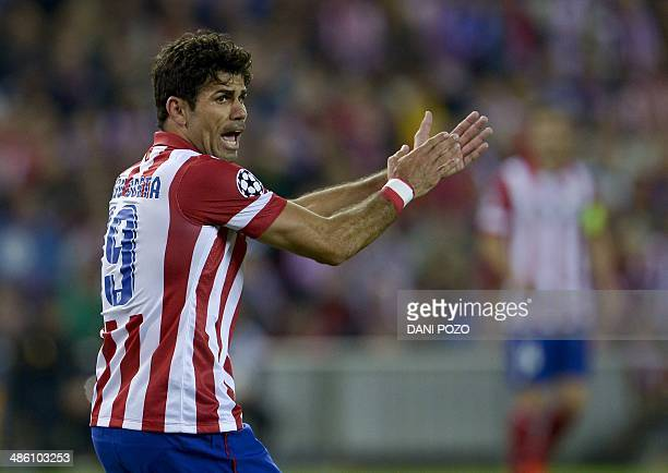 Atletico Madrid's Brazilianborn forward Diego da Silva Costa reacts during the UEFA Champions League semifinal first leg football match Club Atletico...