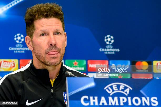 Atletico Madrid's coach from Argentina Diego Simeone gives a press conference in Baku on October 17 2017 on the eve of the UEFA Champions League...