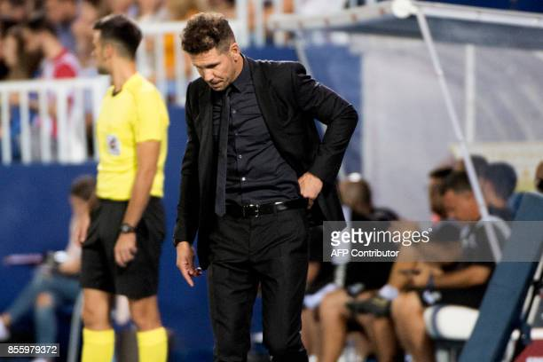 Atletico Madrid's coach from Argentina Diego Simeone reacts during the Spanish league football match Club Deportivo Leganes SAD vs Club Atletico de...
