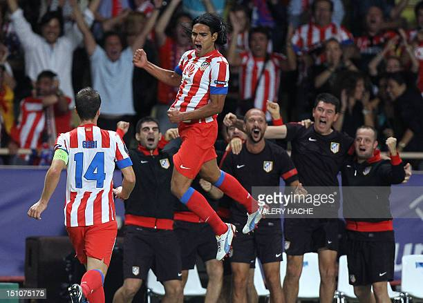 Atletico Madrid's Colombian forward Radamel Falcao celebrates after scoring a goal during the UEFA Super Cup football match Chelsea FC versus Club...