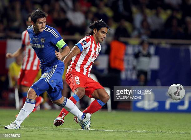 Atletico Madrid's Colombian forward Radamel Falcao vies with Chelsea's Frank Lampard during the UEFA Super Cup football match Chelsea FC versus Club...