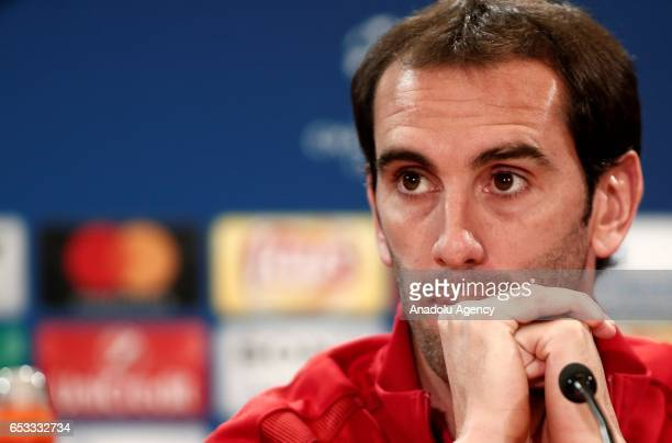 Atletico Madrid's Diego Godin listens during Atletico Madrid press conference ahead of the UEFA Champions League match against Bayer 04 Leverkusen at...