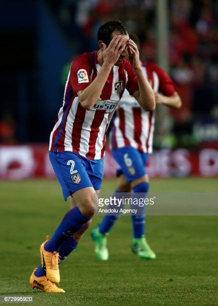 Atletico Madrid's Diego Godin reacts during the Spanish soccer league La Liga football match Atletico de Madrid and Villarreal at the Vicente...