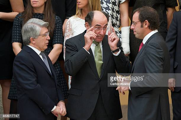 Atletico Madrid's FC President Enrique Cerezo President of Iberdrola energy group Ignacio Sanchez Galan and President of FC Barcelona Sandro Rosell...