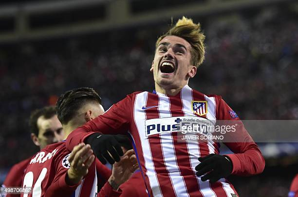 Atletico Madrid's French forward Antoine Griezmann celebrates a goal during the UEFA Champions League Group C football match Club Atletico de Madrid...