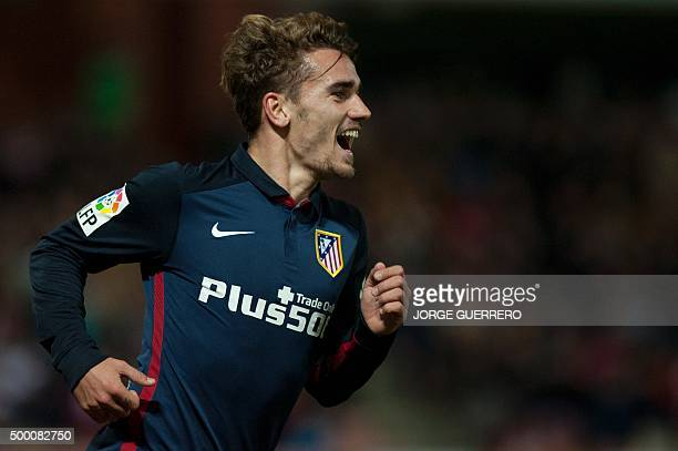 Atletico Madrid's French forward Antoine Griezmann celebrates a goal during the Spanish league football match Granada FC VS Club Atletico de Madrid...