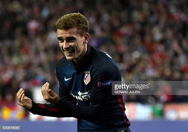 Atletico Madrid's French forward Antoine Griezmann celebrates after scoring during the Champions League quarterfinal second leg football match Club...