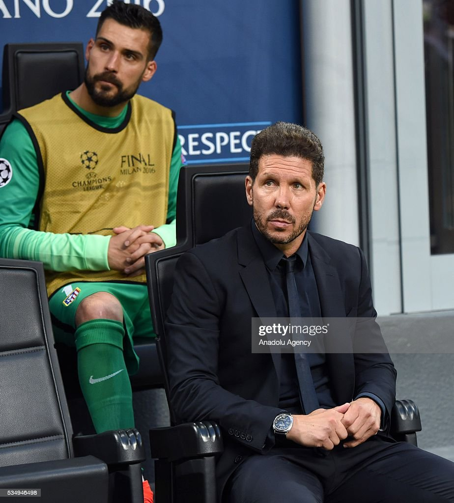 Atletico Madrid's head coach Diego Simone sits on the bench prior to the UEFA Champions League Final between Real Madrid CF and Atletico Madrid at the Giuseppe Meazza Stadium in Milan, Italy on May 28, 2016 in Milan, Italy.