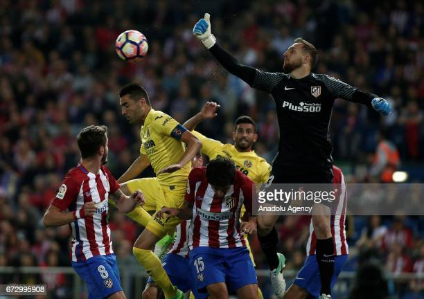 Atletico Madrid's Jan Oblak is in action against Villarreal's Bruno Soriano during the Spanish soccer league La Liga football match Atletico de...