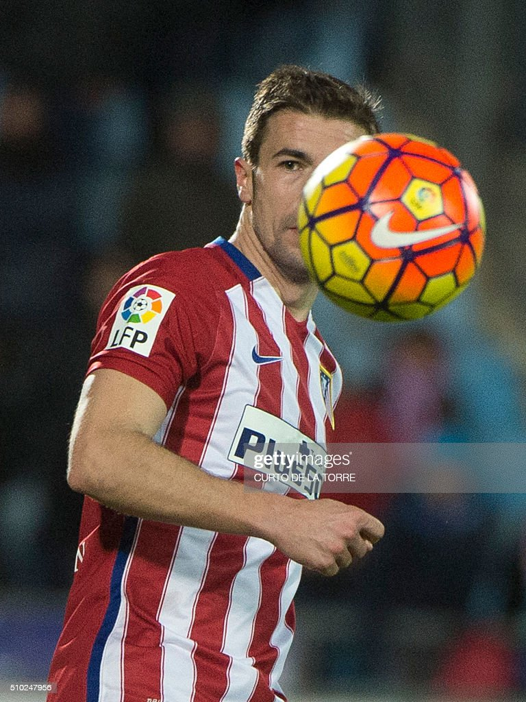 Atletico Madrid's midfielder Gabi controls the ball during the Spanish league football match Getafe CF vs Club Atletico de Madrid at the Col. Alfonso Perez stadium in Getafe on February 14, 2016. TORRE