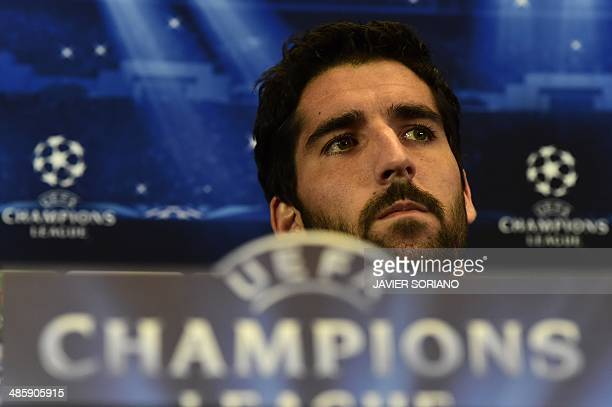 Atletico Madrid's midfielder Raul Garcia looks on during a press conference at the Vicente Calderon stadium in Madrid on April 21 2014 on the eve of...